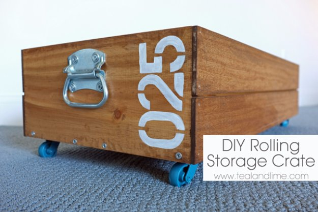 DIY Storage Ideas - DIY Rolling Storage Crate - Home Decor and Organizing Projects for The Bedroom, Bathroom, Living Room, Panty and Storage Projects - Tutorials and Step by Step Instructions  for Do It Yourself Organization http://diyjoy.com/diy-storage-ideas-organization