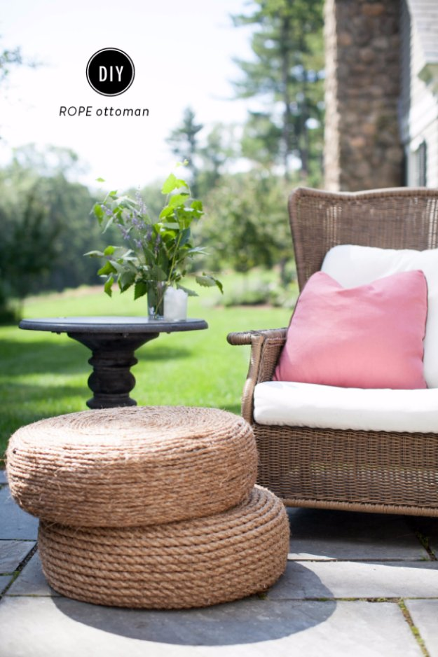 DIY Porch and Patio Ideas - DIY Rope Ottoman - Decor Projects and Furniture Tutorials You Can Build for the Outdoors -Swings, Bench, Cushions, Chairs, Daybeds and Pallet Signs
