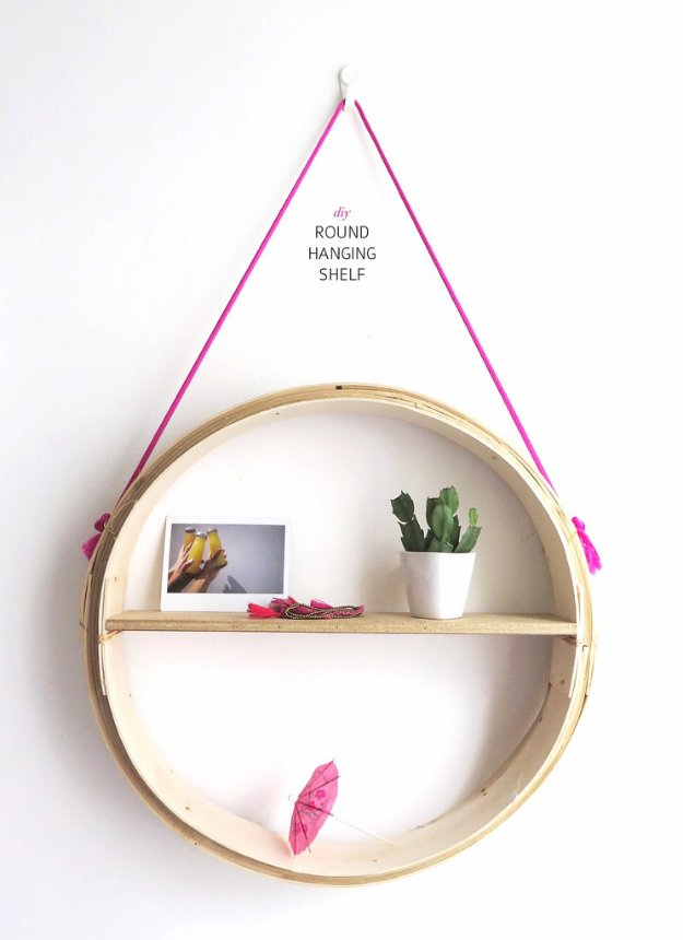 DIY Storage Ideas - DIY Round Hanging Shelf - Home Decor and Organizing Projects for The Bedroom, Bathroom, Living Room, Panty and Storage Projects - Tutorials and Step by Step Instructions for Do It Yourself Organization #diy