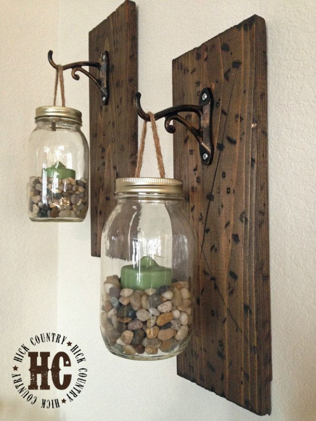 Brilliant DIY Decor Ideas for The Bedroom - DIY Rustic Jar Wall Lanterns - Rustic and Vintage Decorating Projects for Bedroom Furniture, Bedding, Wall Art, Headboards, Rugs, Tables and Accessories. Tutorials and Step By Step Instructions