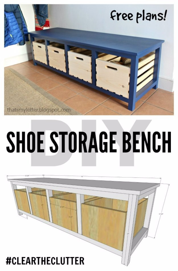 DIY Storage Ideas - DIY Shoe Storage Bench - Home Decor and Organizing Projects for The Bedroom, Bathroom, Living Room, Panty and Storage Projects - Tutorials and Step by Step Instructions for Do It Yourself Organization #diy