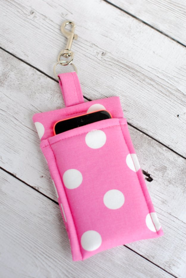 Cool Crafts You Can Make With Fabric Scraps - DIY Simple Phone Wallet - Creative DIY Sewing Projects and Things to Do With Leftover Fabric Scrap Crafts #sewing #fabric #crafts