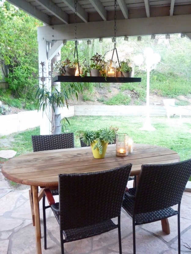 DIY Porch and Patio Ideas - DIY Succulent Chandelier- Decor Projects and Furniture Tutorials You Can Build for the Outdoors -Swings, Bench, Cushions, Chairs, Daybeds and Pallet Signs