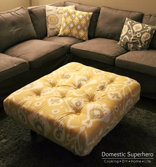 DIY Pallet Furniture Ideas - DIY Tufted Ikat Ottoman from Upcycled Pallet - Best Do It Yourself Projects Made With Wooden Pallets - Indoor and Outdoor, Bedroom, Living Room, Patio. Coffee Table, Couch, Dining Tables, Shelves, Racks and Benches http://diyjoy.com/diy-pallet-furniture-projects