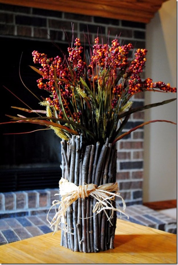 Brilliant DIY Decor Ideas for The Bedroom - DIY Twig Vase - Rustic and Vintage Decorating Projects for Bedroom Furniture, Bedding, Wall Art, Headboards, Rugs, Tables and Accessories. Tutorials and Step By Step Instructions