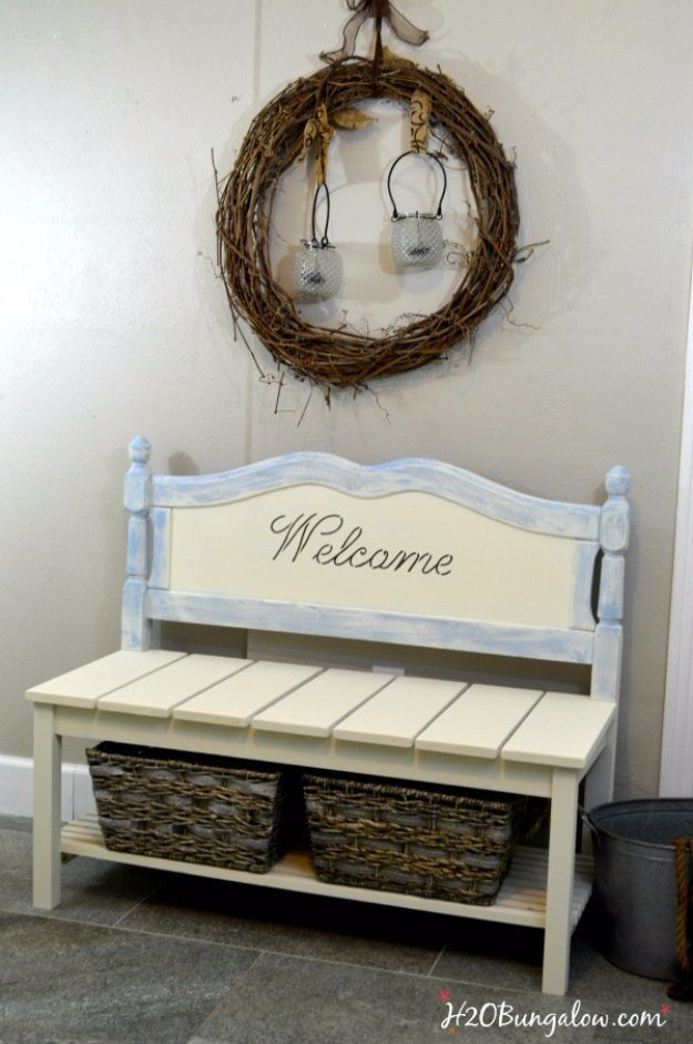 Upcycled Furniture Projects - DIY Twin Headboard Bench Tutorial - Repurposed Home Decor and Furniture You Can Make On a Budget. Easy Vintage and Rustic Looks for Bedroom, Bath, Kitchen and Living Room. #upcycled #diyideas #diyfurniture