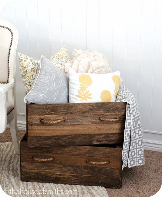 Brilliant DIY Decor Ideas for The Bedroom - DIY Vintage Crates - Rustic and Vintage Decorating Projects for Bedroom Furniture, Bedding, Wall Art, Headboards, Rugs, Tables and Accessories. Tutorials and Step By Step Instructions