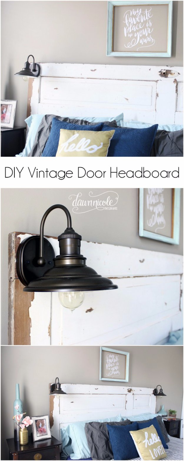 Brilliant DIY Decor Ideas for The Bedroom - DIY Vintage Door Headboard - Rustic and Vintage Decorating Projects for Bedroom Furniture, Bedding, Wall Art, Headboards, Rugs, Tables and Accessories. Tutorials and Step By Step Instructions