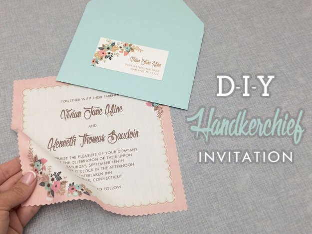 DIY Wedding Invitiations - DIY Vintage Handkerchief Wedding Invitation - Templates, Free Printables and Wording | Tutorials for Unique, Rustic, Elegant and Vintage Homemade Invites #weddinginvitations #diyweddings