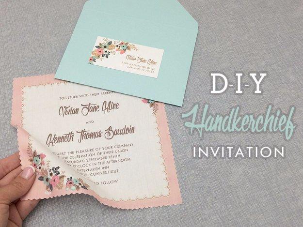 DIY Wedding Invitiations - DIY Vintage Handkerchief Wedding Invitation - Templates, Free Printables and Wording   Tutorials for Unique, Rustic, Elegant and Vintage Homemade Invites #weddinginvitations #diyweddings