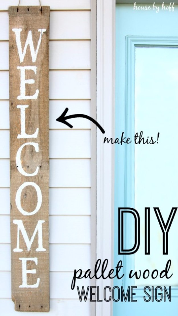 DIY Pallet sign Ideas -DIY Welcome Pallet Wood Sign - Upcycled Pallet Art Cool Homemade Wall Art Ideas and Pallet Signs for Bedroom, Living Room, Patio and Porch. Creative Rustic Decor Ideas on A Budget