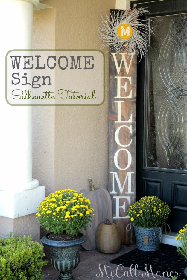 DIY Porch and Patio Ideas - DIY Welcome Sign - Decor Projects and Furniture Tutorials You Can Build for the Outdoors -Swings, Bench, Cushions, Chairs, Daybeds and Pallet Signs