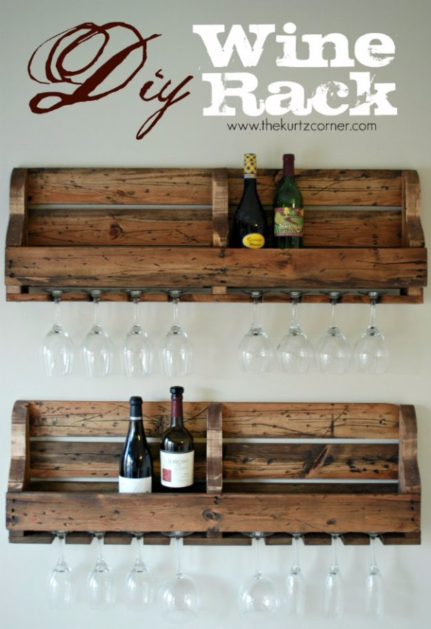 DIY Pallet Furniture Ideas - DIY Wine Rack - Best Do It Yourself Projects Made With Wooden Pallets - Indoor and Outdoor, Bedroom, Living Room, Patio. Coffee Table, Couch, Dining Tables, Shelves, Racks and Benches http://diyjoy.com/diy-pallet-furniture-projects