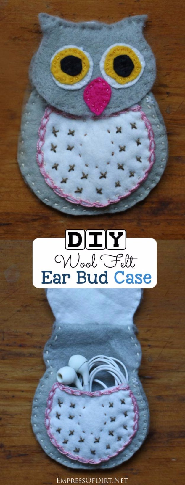 DIY Sewing Gift Ideas for Adults and Kids, Teens, Women, Men and Baby - DIY Wool Felt Ear Bud case - Cute and Easy DIY Sewing Projects Make Awesome Presents for Mom, Dad, Husband, Boyfriend, Children #sewing #diygifts #sewingprojects