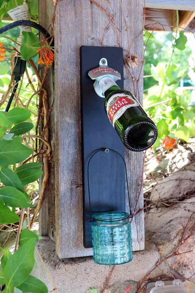 DIY Porch and Patio Ideas - DIY chalkboard Bottle Opener Patio Decoration - Decor Projects and Furniture Tutorials You Can Build for the Outdoors -Swings, Bench, Cushions, Chairs, Daybeds and Pallet Signs