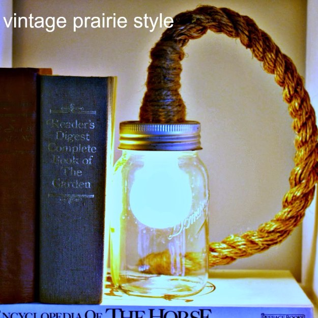Mason Jar Lights - DIY mason jar rope light - DIY Ideas with Mason Jars for Outdoor, Kitchen, Bathroom, Bedroom and Home, Wedding. How to Make Hanging Lanterns, Rustic Chandeliers and Pendants, Solar Lights for Outside http://diyjoy.com/diy-mason-jar-lights-lanterns