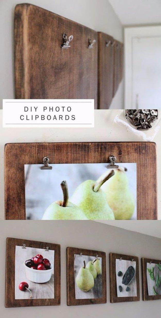 Brilliant DIY Decor Ideas for The Bedroom - DIY photo Clipboards - Rustic and Vintage Decorating Projects for Bedroom Furniture, Bedding, Wall Art, Headboards, Rugs, Tables and Accessories. Tutorials and Step By Step Instructions
