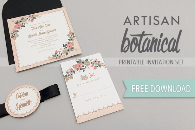 DIY Wedding Invitiations - Delicate Floral Wedding Invitation Suite - Templates, Free Printables and Wording | Tutorials for Unique, Rustic, Elegant and Vintage Homemade Invites #weddinginvitations #diyweddings