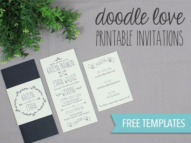 DIY Wedding Invitiations - Doodle Wedding Invitation - Templates, Free Printables and Wording | Tutorials for Unique, Rustic, Elegant and Vintage Homemade Invites #weddinginvitations #diyweddings