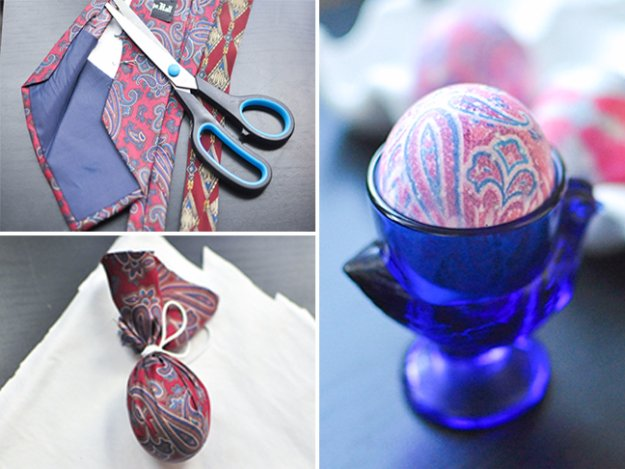 Easter Egg Decorating Ideas - Dye Easter Eggs Using Old Silk Ties - Creative Egg Dye Tutorials and Tips - DIY Easter Egg Projects for Kids and Adults