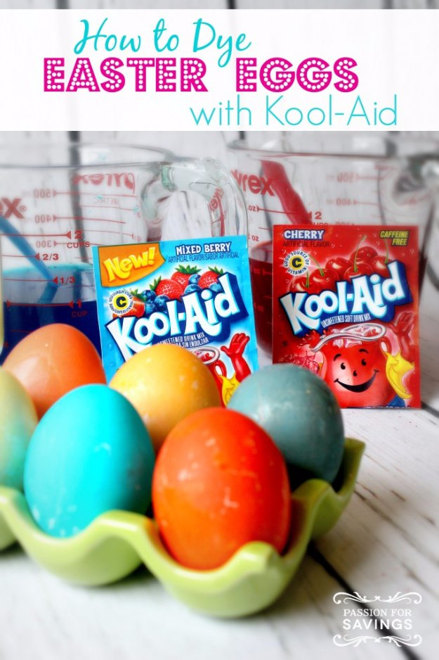 Easter Egg Decorating Ideas - Dye Easter Eggs with Kool-Aid - Creative Egg Dye Tutorials and Tips - DIY Easter Egg Projects for Kids and Adults
