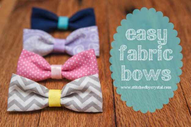 Simple Sewing Crafts You Can Make With Fabric Scraps - Easy Fabric Bows - Creative DIY Sewing Projects and Things to Do With Leftover Fabric Scrap Crafts #sewing #fabric #crafts
