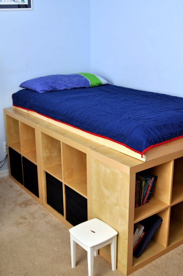 DIY Storage Ideas -Expedit Storage Bed - Home Decor and Organizing Projects for The Bedroom, Bathroom, Living Room, Panty and Storage Projects - Tutorials and Step by Step Instructions for Do It Yourself Organization http://diyjoy.com/diy-storage-ideas-organization