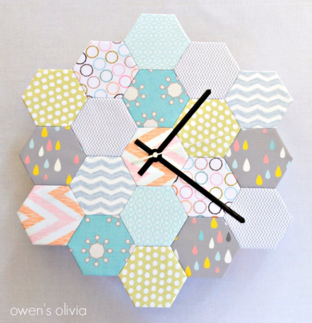 Cool Crafts You Can Make With Fabric Scraps - Fabric Block Hexagon Clock - Creative DIY Sewing Projects and Things to Do With Leftover Fabric Scrap Crafts #sewing #fabric #crafts
