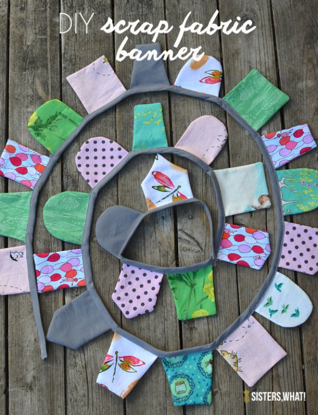 Cool Crafts You Can Make With Fabric Scraps - Fabric Scrap Banner - Creative DIY Sewing Projects and Things to Do With Leftover Fabric Scrap Crafts #sewing #fabric #crafts