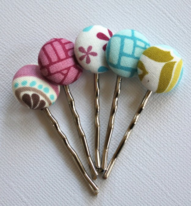 Cool Crafts You Can Make With Fabric Scraps - Fabric Scrap Bobby Pins - Creative DIY Sewing Projects and Things to Do With Leftover Fabric and Even Old Clothes That Are Too Small - Ideas, Tutorials and Patterns http://diyjoy.com/diy-crafts-leftover-fabric-scraps
