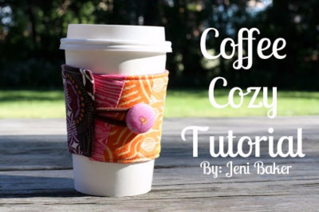 Cool Crafts You Can Make With Fabric Scraps - Fabric Scrap Coffee Cozy - Creative DIY Sewing Projects and Things to Do With Leftover Fabric Scrap Crafts #sewing #fabric #crafts