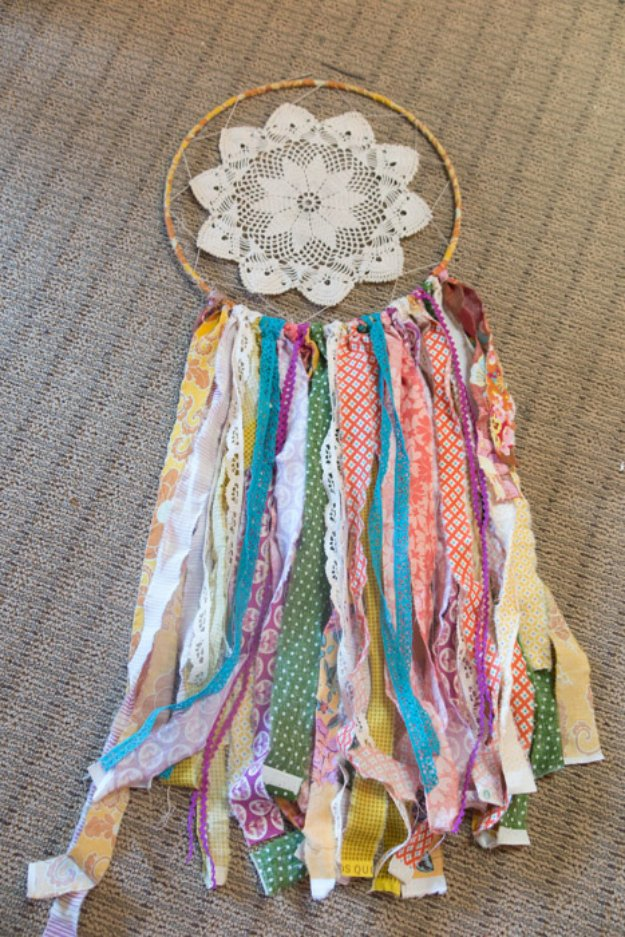 Cool Crafts You Can Make With Fabric Scraps - Fabric Scrap Dreamcatcher - Creative DIY Sewing Projects and Things to Do With Leftover Fabric Scrap Crafts #sewing #fabric #crafts