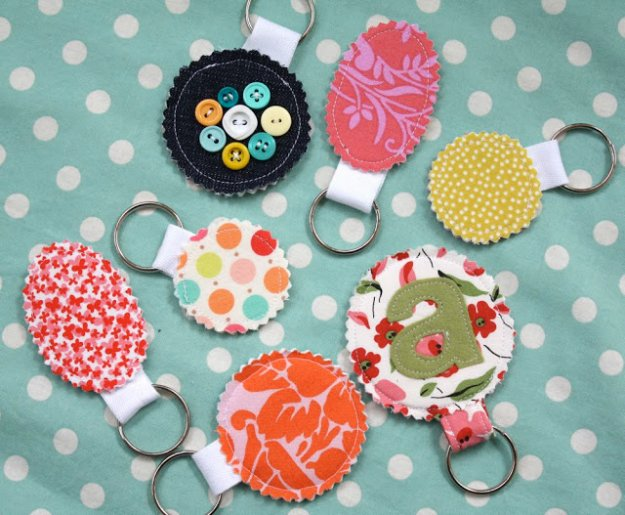 Easy Fabric Scrap Crafts - Fabric Scrap Key Rings - Creative DIY Sewing Projects and Things to Do With Leftover Fabric Scrap Crafts #sewing #fabric #crafts