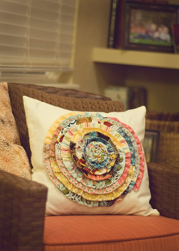 Cool Crafts You Can Make With Fabric Scraps - Fabric Scrap Rosette Pillow - Creative DIY Sewing Projects and Things to Do With Leftover Fabric Scrap Crafts #sewing #fabric #crafts