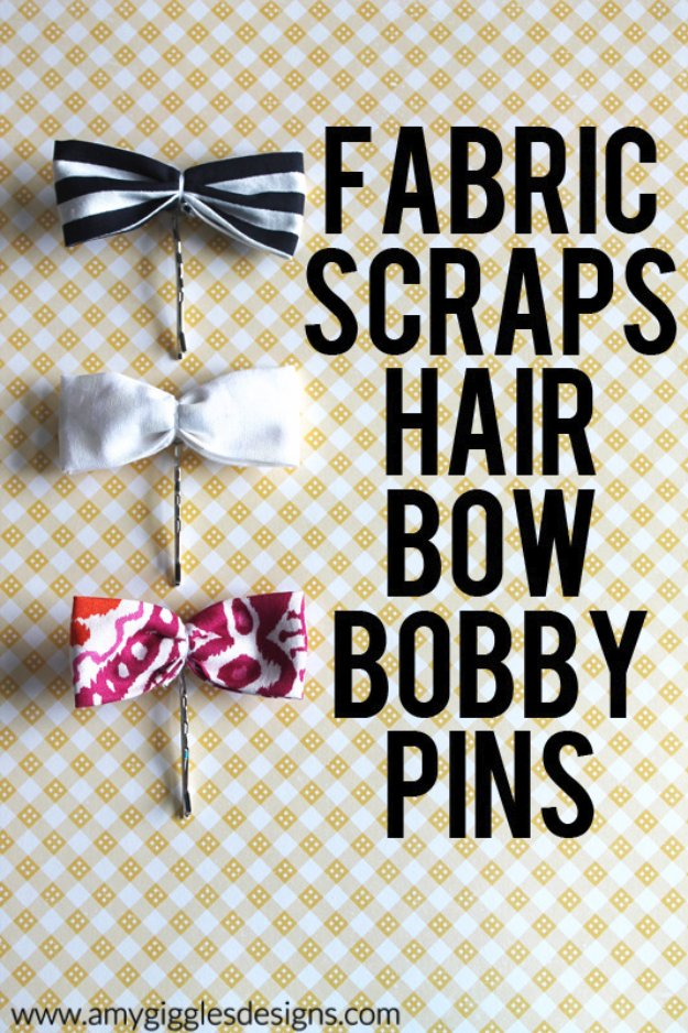 Cool Crafts You Can Make With Fabric Scraps - Fabric Scraps Hair Bow Bobby Pins - Creative DIY Sewing Projects and Things to Do With Leftover Fabric Scrap Crafts #sewing #fabric #crafts