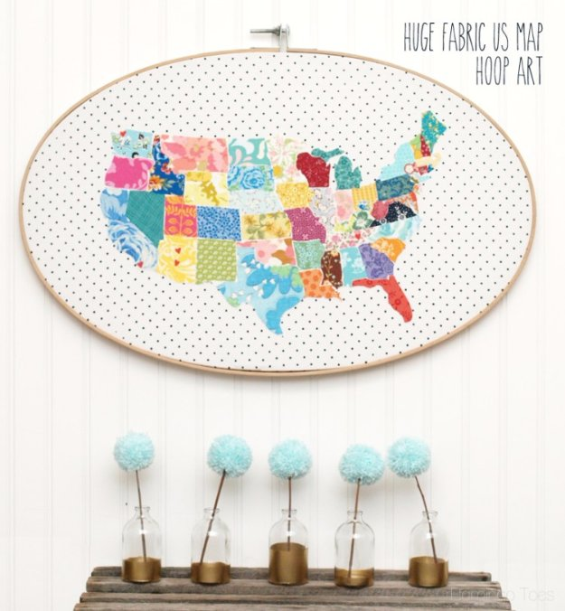 Cool Crafts You Can Make With Fabric Scraps - Fabric US Map Hoop Art - Creative DIY Sewing Projects and Things to Do With Leftover Fabric Scrap Crafts #sewing #fabric #crafts