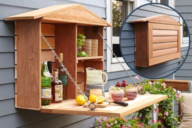 DIY Pallet Furniture Ideas - Fold Down Murphy Bar - Best Do It Yourself Projects Made With Wooden Pallets - Indoor and Outdoor, Bedroom, Living Room, Patio. Coffee Table, Couch, Dining Tables, Shelves, Racks and Benches