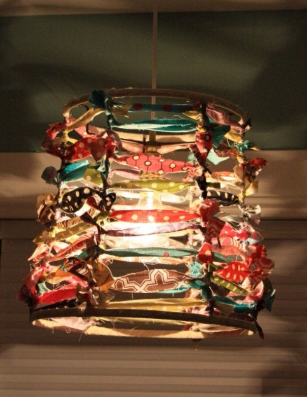 Cool Crafts You Can Make With Fabric Scraps - Frabric Scap Lampshade - Creative DIY Sewing Projects and Things to Do With Leftover Fabric Scrap Crafts #sewing #fabric #crafts