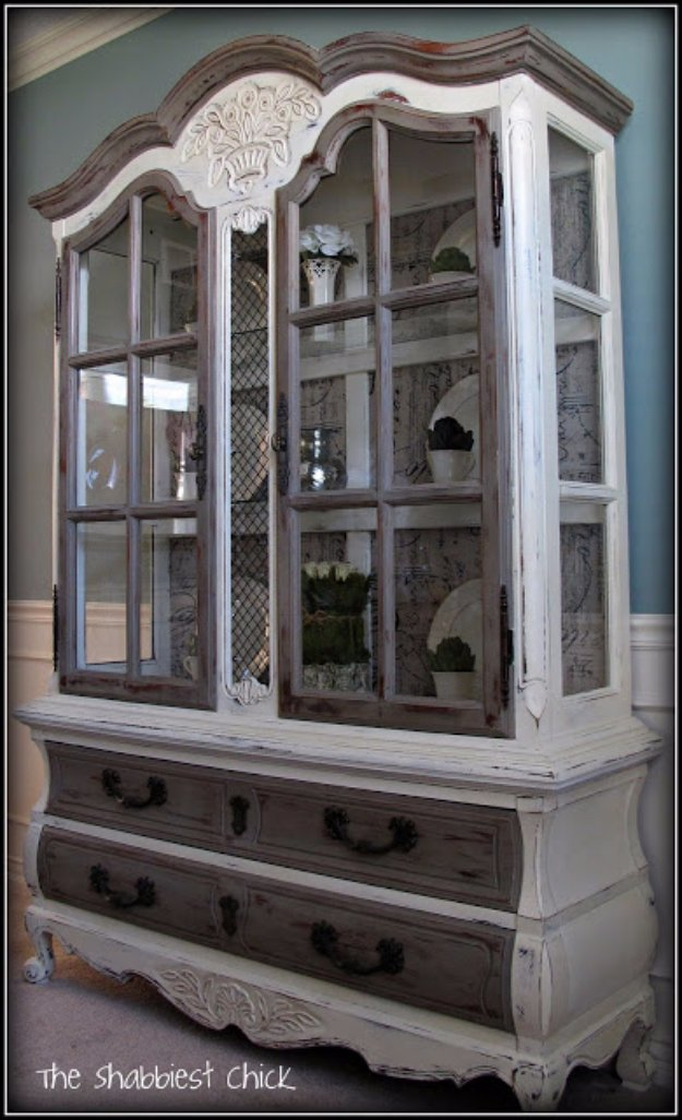 DIY Chalk Paint Furniture Ideas With Step By Step Tutorials - Frenchy Hutch - How To Make Distressed Furniture for Creative Home Decor Projects on A Budget - Perfect for Vintage Kitchen, Dining Room, Bedroom, Bath #diyideas #diyfurniture