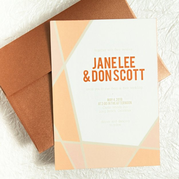 DIY Wedding Invitiations - Geometric Frame Wedding Invitations - Templates, Free Printables and Wording   Tutorials for Unique, Rustic, Elegant and Vintage Homemade Invites #weddinginvitations #diyweddings