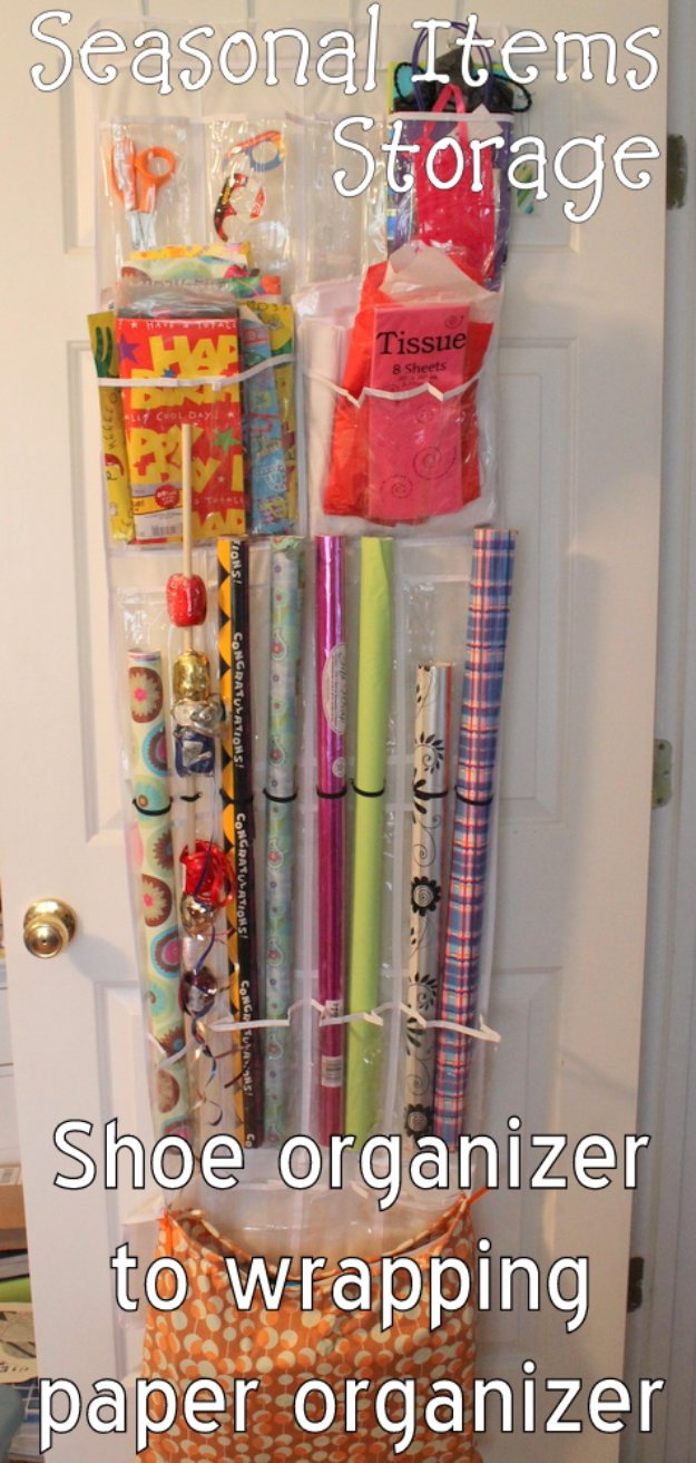 DIY Storage Ideas - Gift Wrap Storage From a Shoe Organizer - Home Decor and Organizing Projects for The Bedroom, Bathroom, Living Room, Panty and Storage Projects - Tutorials and Step by Step Instructions for Do It Yourself Organization http://diyjoy.com/diy-storage-ideas-organization