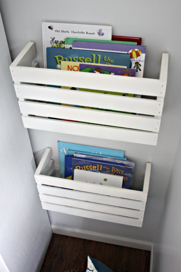 DIY Storage Ideas - Great Crate Book Storage - Home Decor and Organizing Projects for The Bedroom, Bathroom, Living Room, Panty and Storage Projects - Tutorials and Step by Step Instructions for Do It Yourself Organization #diy
