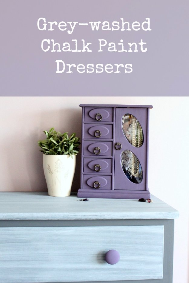 DIY Chalk Paint Furniture Ideas With Step By Step Tutorials - Grey Washed Chalk Paint Dresser - How To Make Distressed Furniture for Creative Home Decor Projects on A Budget - Perfect for Vintage Kitchen, Dining Room, Bedroom, Bath #diyideas #diyfurniture