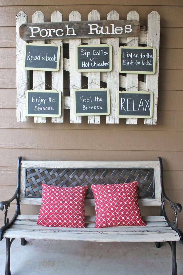 DIY Porch and Patio Ideas - Hanging Front Porch Rules - Decor Projects and Furniture Tutorials You Can Build for the Outdoors -Swings, Bench, Cushions, Chairs, Daybeds and Pallet Signs