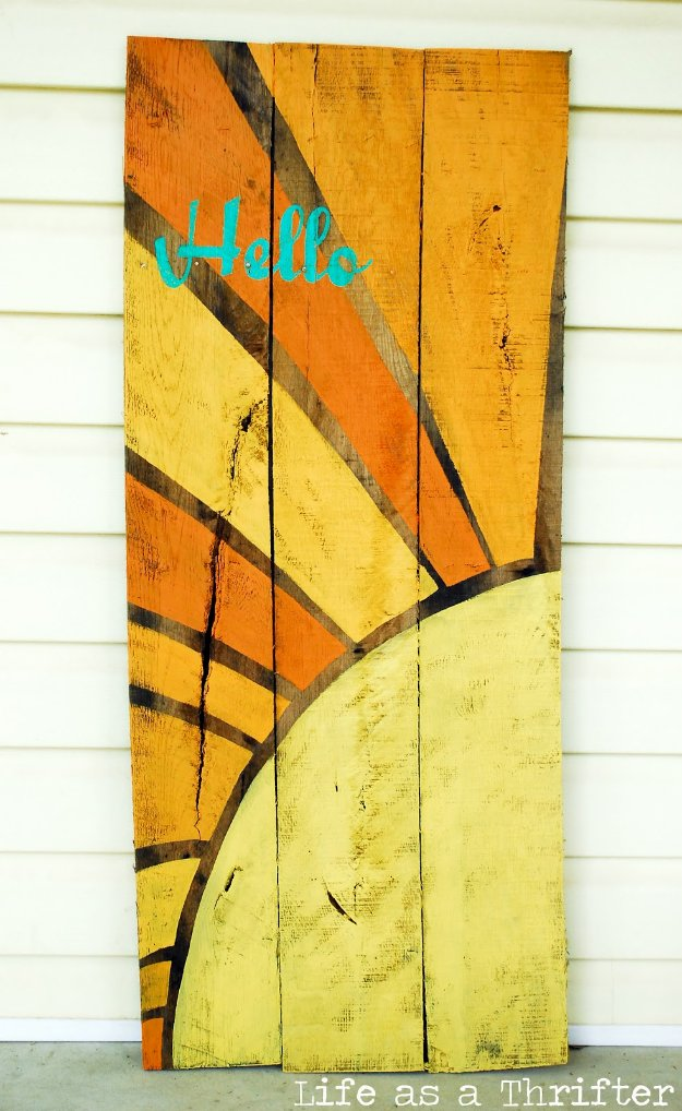 DIY Pallet sign Ideas - Hello Sunshine Wall Sign - Cool Homemade Wall Art Ideas and Pallet Signs for Bedroom, Living Room, Patio and Porch. Creative Rustic Decor Ideas on A Budget