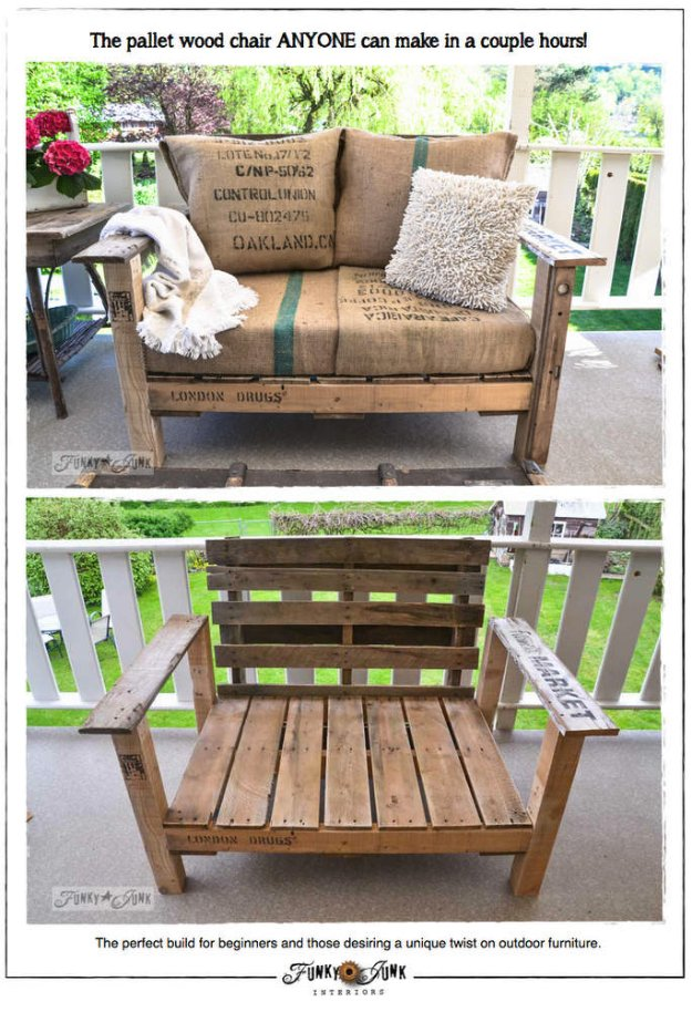 DIY Porch and Patio Ideas - How to Build a Pallet Wood Chair - Decor Projects and Furniture Tutorials You Can Build for the Outdoors -Swings, Bench, Cushions, Chairs, Daybeds and Pallet Signs