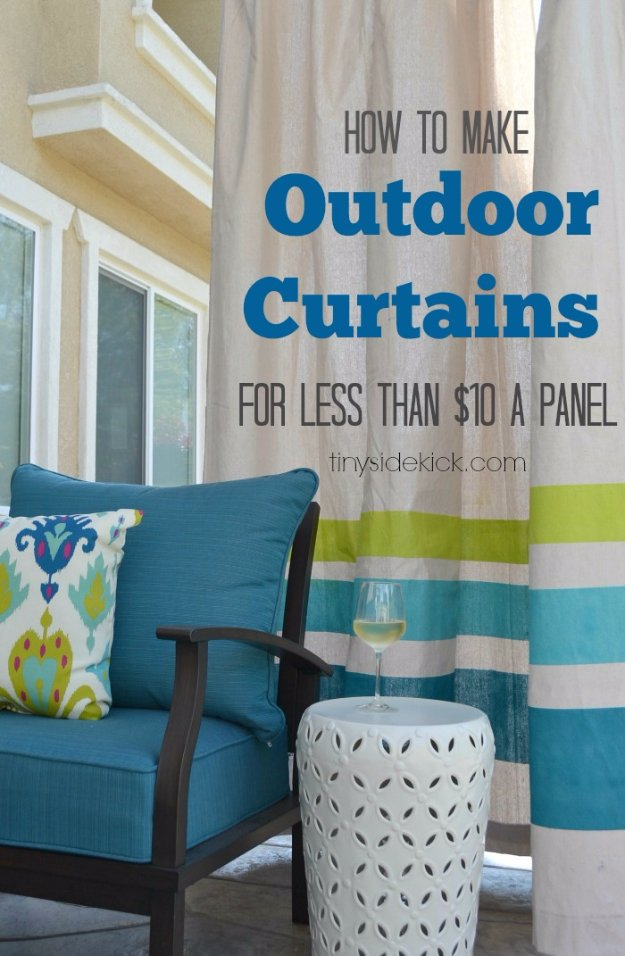 DIY Porch and Patio Ideas - How to Make Outdoor Curtains - Decor Projects and Furniture Tutorials You Can Build for the Outdoors -Swings, Bench, Cushions, Chairs, Daybeds and Pallet Signs