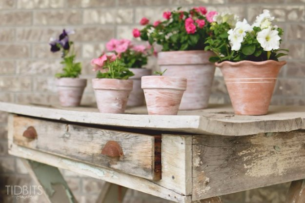 DIY Porch and Patio Ideas -How to White Wash Terra Cotta Pots for Front Porch - Decor Projects and Furniture Tutorials You Can Build for the Outdoors -Swings, Bench, Cushions, Chairs, Daybeds and Pallet Signs