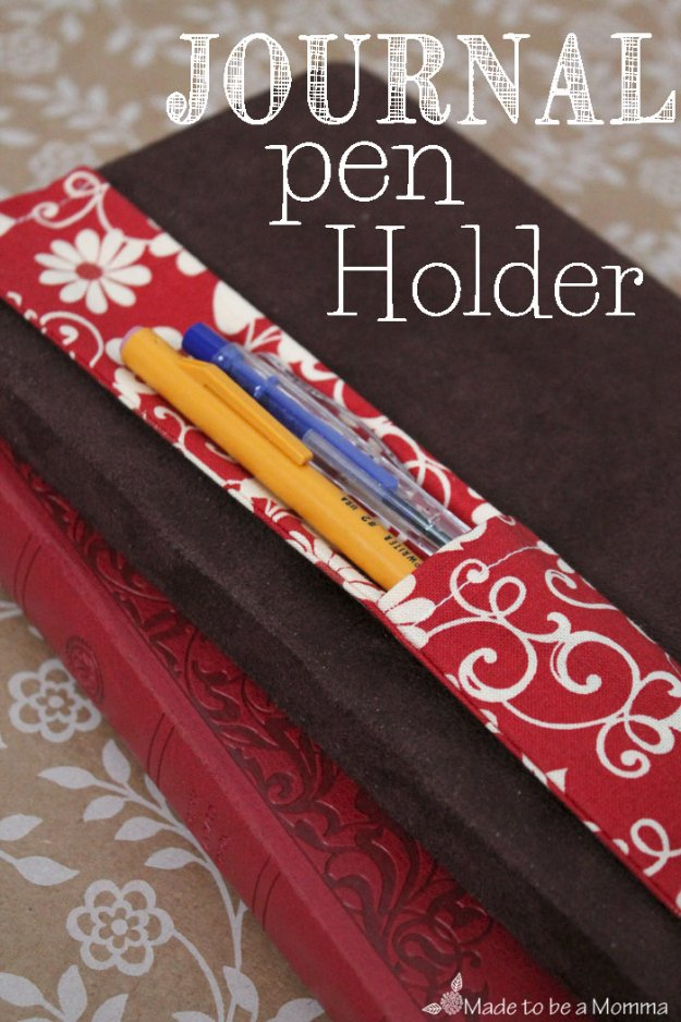 DIY Sewing Gift Ideas for Adults and Kids, Teens, Women, Men and Baby - Journal Pen Holder - Cute and Easy DIY Sewing Projects Make Awesome Presents for Mom, Dad, Husband, Boyfriend, Children #sewing #diygifts #sewingprojects