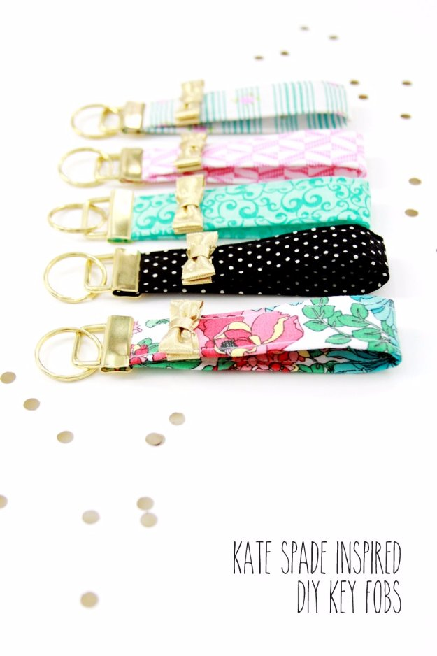 DIY Sewing Gift Ideas for Adults and Kids, Teens, Women, Men and Baby - Kate Spade Inspired Key Fobs - Cute and Easy DIY Sewing Projects Make Awesome Presents for Mom, Dad, Husband, Boyfriend, Children #sewing #diygifts #sewingprojects